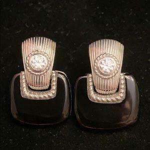 Judith Ripka Onyx & CZ earrings